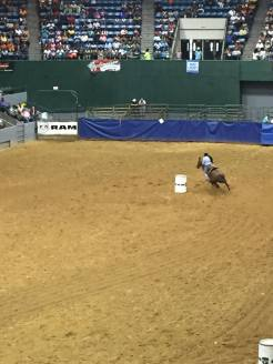 Cowgirl participating in barrel races. Photo Courtesy of Tamoria Harvey
